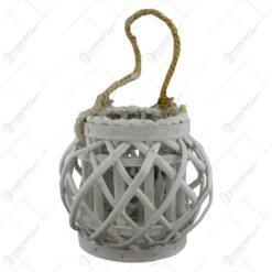 Felinar realizat din ratan cu candela - Rotund 16 cm
