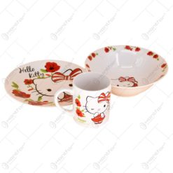 Seviciu de masa pentru copii ceramica 3 piese - Design Hello Kitty
