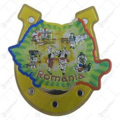 Magnet de frigider in forma de potcoava si harta Romaniei - Design Traditional