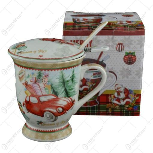 Cana de craciun realizata din ceramica cu capac si strecurator - Design masina cu cadouri