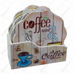 Set 6 suporturi cu carcasa pentru pahare - Design Coffee (Model 1)