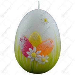 Lumanare de Paste in forma de ou decorata cu flori si oua colorate (Model 2)