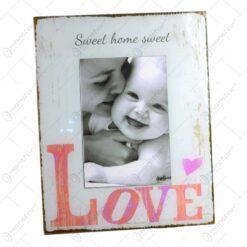 Rama foto stativ din lemn - Dim. poza 10x15 cm - Design Sweet Home & Love