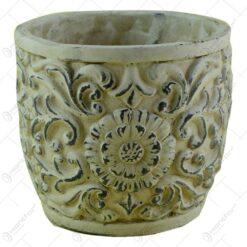 Ghiveci rotund realizat din piatra - Design antic cu floare (Model 2)