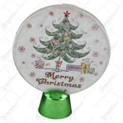 Ornament cu led realizat din plastic in forma rotunda - Desing cu brad - Merry Christmas
