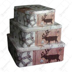Set 3 cutii pentru cadouri sau depozitare realizate din metal - Design Christmas (Tip 2)