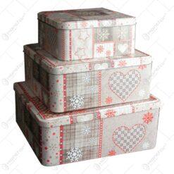 Set 3 cutii pentru cadouri sau depozitare realizate din metal - Design Christmas (Tip 1)