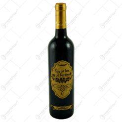 "Vin rosu 0.75l cu eticheta personalizata din pluta - Design ""Egy jo bor egy jo baratnak"""