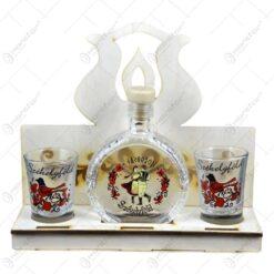 Plosca si pahare din sticla pe suport realizat din lemn - Design szekelyfold