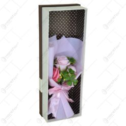 Cutie cadou (dreptunghi) cu buchet de flori realizat din spuma - Trandafiri - Diverse culori (Model 2)