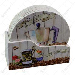 Set 6 suporturi cu carcasa pentru pahare - Design Coffee (Model 2)