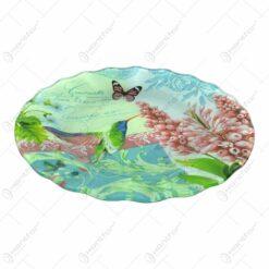 Platou pentru servire realizat din sticla - Design Flowers & Birds - Rotund
