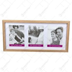 Rama foto din lemn - Dim. poza 13x18 cm - Pentru 3 fotografii