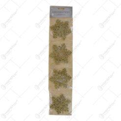 Decoratiuni pentru pomul de Craciun realizate din plastic cu sclipici - Diverse modele - Auriu