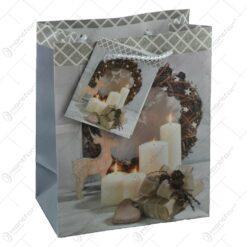 Punga pentru cadouri - Design cu lumanari si coronita pentru Craciun (Model 1)