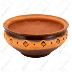 Ghiveci din lut in forma de bol cu ornamente de romb