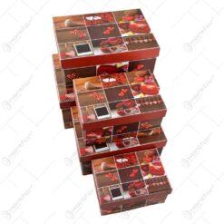 Set 5 cutii pentru cadouri in forma dreptunghiulara - Diverse culori