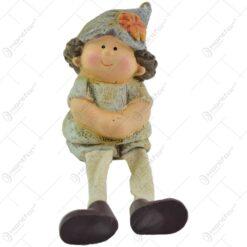 Figurina decorativa pentru toamna reaizata din ceramica cu picioare de textil - 2 modele Baiat/Fata
