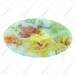 Platou pentru servire realizat din sticla - Design Trandafiri - Rotund