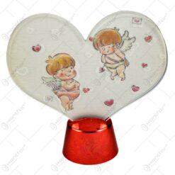 Ornament cu led realizat din plastic in forma de inimioara - Desing cu ingerasi