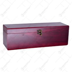 Cutie din lemn pentru vin cu captuseala si cu accesorii pentru sticla de vin - Elegant
