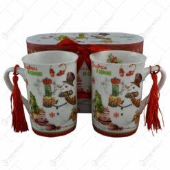 Cana de craciun realizata din ceramica in cutie cadou - Design om de zapada