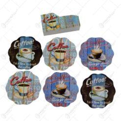 Set 6 suporturi cu carcasa pentru pahare - Design Coffee (Model 3)