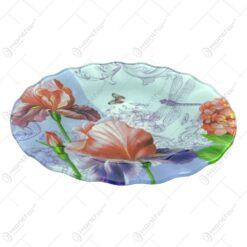 Platou pentru servire ralizat din sticla - Design Flowers - Rotund (Tip 1)