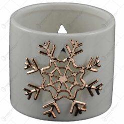 Candela cilindrica realizata din ceramica - Design fulg de nea (Diverse culori)