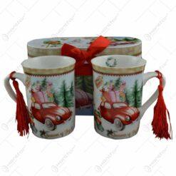 Set 2 cani Craciun din ceramica in cutie cadou - Design masina