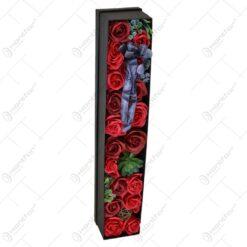 Cutie cadou cu flori si plante realizate din spuma - Trandafiri - 2 modele