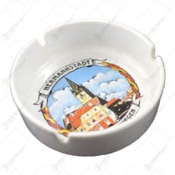 Scrumiera ceramica in forma rotunda cu grafica - Brasov