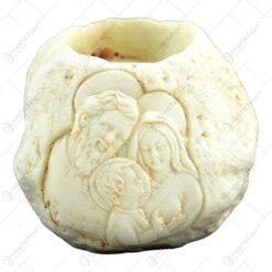 Suport pentru lumanare realizata din ceramica - Sfanta Familie