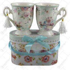 Set 2 cani realizate din ceramica in cutie cadou - Design Roses