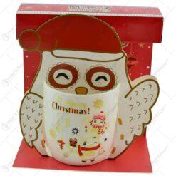 "Cana de craciun realizata din ceramica in cutie - Design cu bufnite si inscriptia ""Merry Christmas"" - Diverse modele"