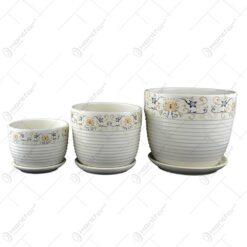 Set 3 ghivece din ceramica - Design cu flori (Model 1)
