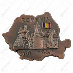 Magnet pentru frigider realizat din metal in forma de harta - Design Vlad Tepes-Castelul Bran