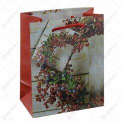 Punga pentru cadouri - Design cu coroana decorata cu bobite (Model 1)
