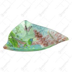 Platou pentru servire realizat din sticla - Design Flowers & Birds - Tiunghiular
