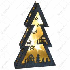 Decoratiune realizata din lemn in forma de brad cu lumini led - Design Craciun