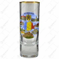 Pahar drept si inalt cu grafica - Stema Romaniei