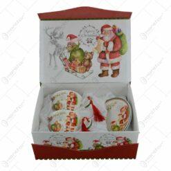 Set cana de craciun cu farfurii realizata din ceramica in cutie cadou - Design Mos Craciun