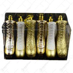 Set decoratiuni de Craciun realizate din sticla in forma de pantofi de patinaj - Auriu