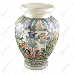 Vaza ceramica de Corund pictat cu motive populare - 27 cm