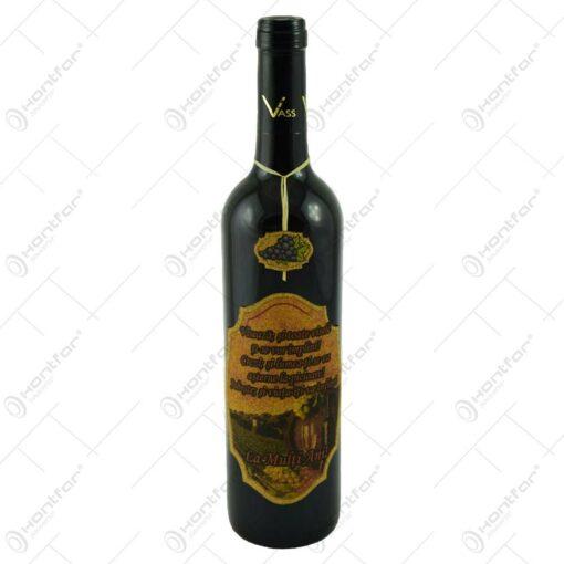 "Vin rosu 0.75l cu eticheta personalizata din pluta - Design ""La multi ani!"""
