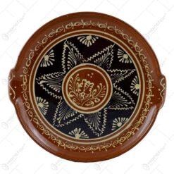 Platou ceramic rotund cu manere. decorata cu motive populare
