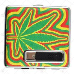 Tabachiera pentru 20 de tigari - Design Cannabis -Diferite modele (Model 2)