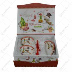 Set cana de craciun cu farfurii realizat din ceramica in cutie cadou - Design cu om de zapada si brad