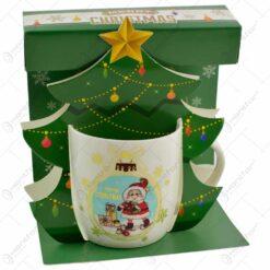 "Cana de craciun realizata din ceramica in cutie - Design cu Mos Nicolae si inscriptia ""Merry Christmas"" - Diverse modele"