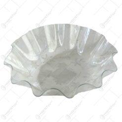 Tava rotunda transparenta realizata din material plastic - Design Fulgi de nea albi